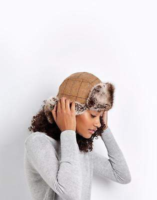 Joules Tweed Trapper Hat in Tan Check in One Size