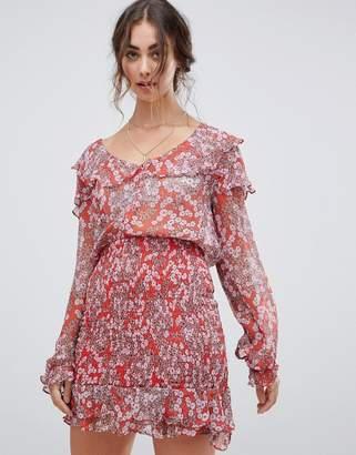 Stevie May Columbia rouge ruffle mini dress
