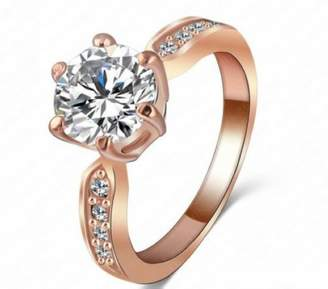 Ring 3.5ct Cubic Zirconia Cz Engagement 18k Rose Gold Plated Rhinestone Crystal Gift R32d (brass-plated-gold, 9)