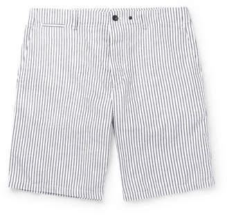 Rag & Bone Beach Short II Striped Cotton and Linen-Blend Shorts - Blue