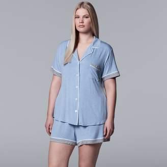 Vera Wang Plus Size Simply Vera Notch Collar Shirt & Shorts Pajama Set