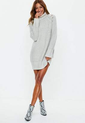 Missguided Gray Chunky Turtle Neck Knit Sweater Dress