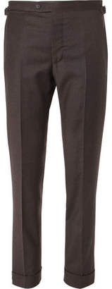 P. Johnson - Dark-brown Tapered Wool And Cashmere-blend Flannel Suit Trousers - Dark brown