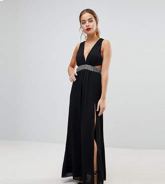 Asos Embellished Waist Strap Back Maxi Dress