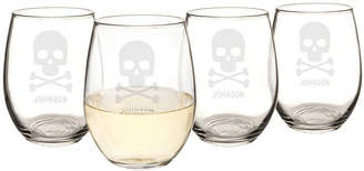Cathy's Concepts CATHYS CONCEPTS Personalized Skull & Crossbones Set Of 4 Stemless Wine Glasses