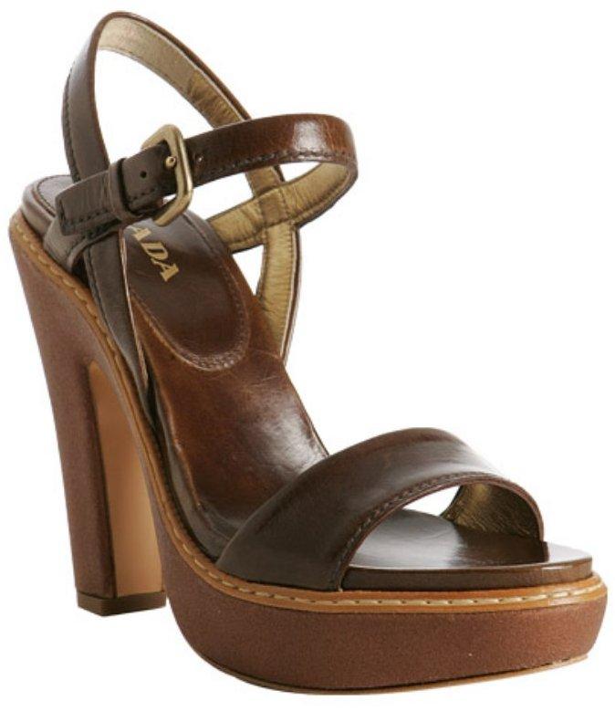 Prada hazelnut glazed leather platform sandals