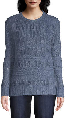 ST. JOHN'S BAY Long Sleeve Cozy Textured Stripe Pullover - Tall
