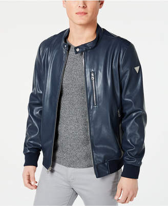 dd75cca6b6f Mens Faux Leather Bomber Jacket - ShopStyle