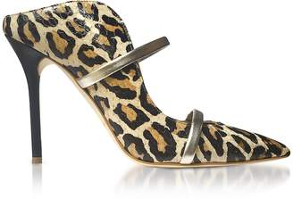 Malone Souliers Beige Leopard Printed Elaphe and Platinum Nappa Leather Maureen High Heel Mules