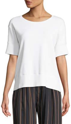 Vince Short-Sleeve Cotton Scoop-Neck Sweatshirt Top