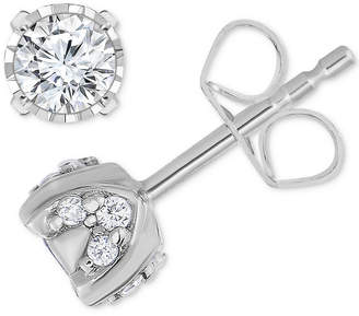 At Macy S Trumiracle Pavé Diamond Stud Earrings 3 4ct T W In 14k White Gold