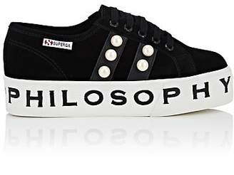Philosophy di Lorenzo Serafini Women's Pearl-Embellished Suede Platform Sneakers - Black