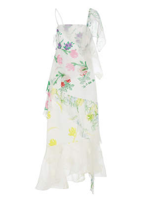Floral Layered Slip Dress - White - Size US4