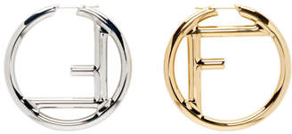 Fendi Gold and Silver Large F is Hoop Earrings