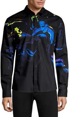 HUGO Ero3 Fluid Print Button-Down Shirt