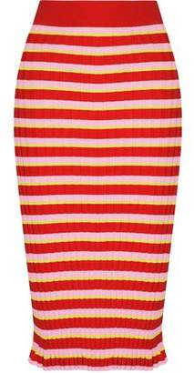 Bloomfield Striped Ribbed-Knit Skirt