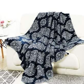Unique Bargains Printed Fleece Throw Blanket Reversible Plush Warm Blankets Throw for Sofa