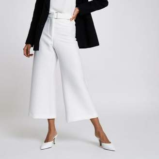 River Island Womens Petite white cropped wide leg culottes