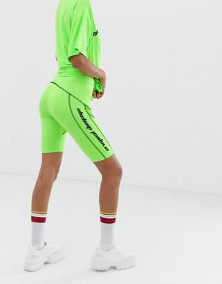 Criminal Damage structured legging shorts with logo