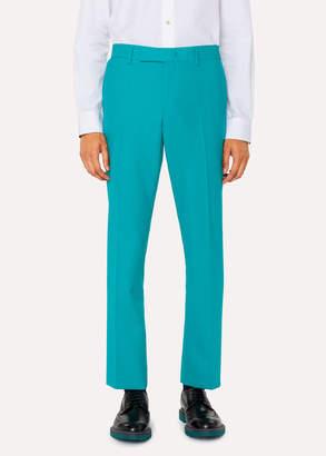 Paul Smith Men's Slim-Fit Turquoise Hopsack Wool Pants