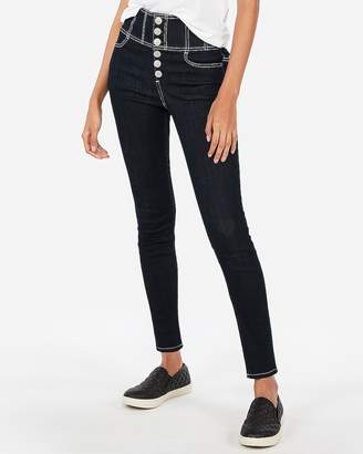 Express Super High Waisted Button Fly Stretch Ankle Leggings