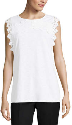 Liz Claiborne Crew Neck Lace Trim Tank - Tall