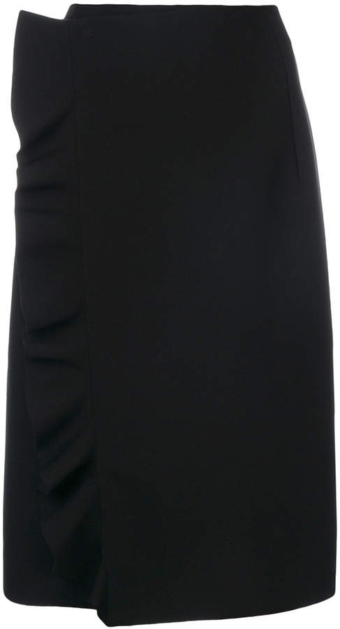 MSGM frilled detail wrap skirt