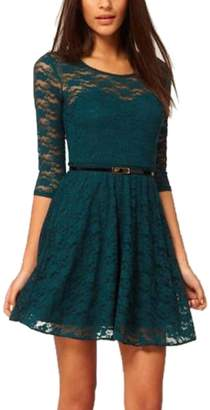 fashionbeautybuy Women Round Neck Midi Skater Dress 3/4 Sleeve Hollow Out Lace Cocktail Dress Waist Belt (M, )