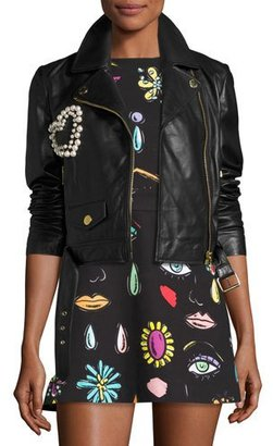 Boutique Moschino Leather Moto Jacket w/ Pearly Beaded Heart, Black $995 thestylecure.com