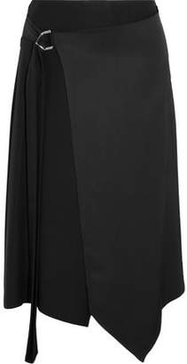 Versace Asymmetric Satin Wrap Midi Skirt