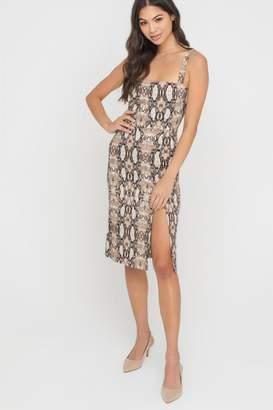 Lush Snakeskin Slit Dress