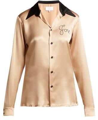 Maison Margiela - Love Embroidered Silk Shirt - Womens - Beige Multi