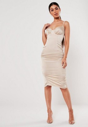 Missguided Champagne Satin Ruched Cup Bodycon Midi Dress