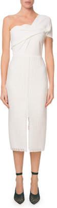 Roland Mouret One-Shoulder Lattice-Skirt Midi Dress