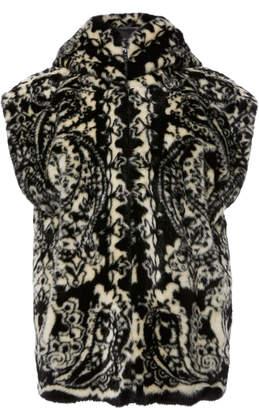 Anna Sui Paisley Park Faux Fur Hooded Vest