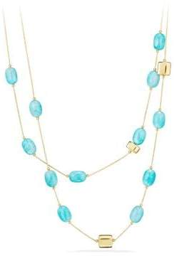 David Yurman Dy Signature Bead Necklace With Amazonite In 18K Gold