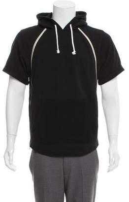 Tackma Zipper-Accent Short Sleeve Hoodie