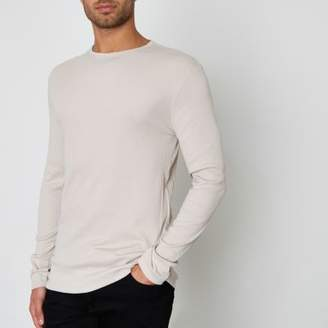 River Island Mens Stone ribbed slim fit long sleeve T-shirt