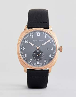 Larsson & Jennings Meridian Leather Watch In Black 38mm