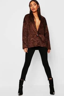 boohoo Faux Fur Leopard Kimono Blazer