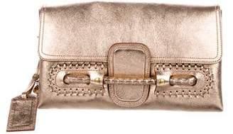 Alexander McQueen Metallic Leather Folk Clutch