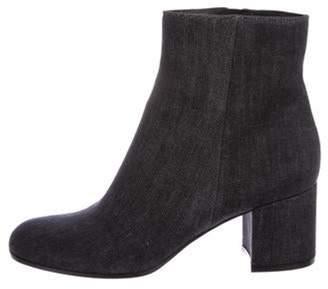 Gianvito Rossi Denim Round-Toe Ankle Boots Blue Denim Round-Toe Ankle Boots