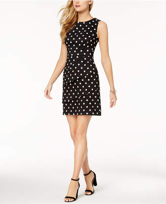 Connected Petite Polka-Dot Tiered Sheath Dress