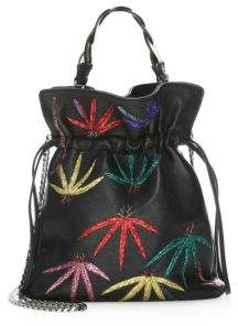 Les Petits Joueurs Trilly Embellished Palm-Tree Embroidered Leather Bucket Bag
