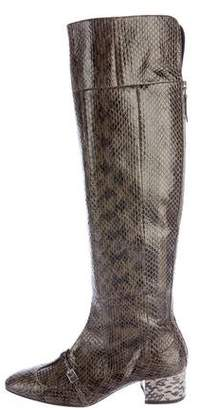 No.21 No. 21 Snakeskin Over-The-Knee Boots