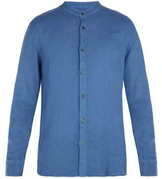 120% Lino Collarless Linen Shirt - Mens - Dark Blue