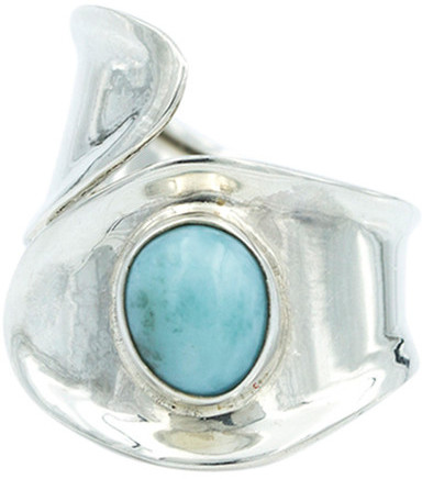 Exex Design Jewelry Sterling Silver Calgary Cabochon Larimar Ring