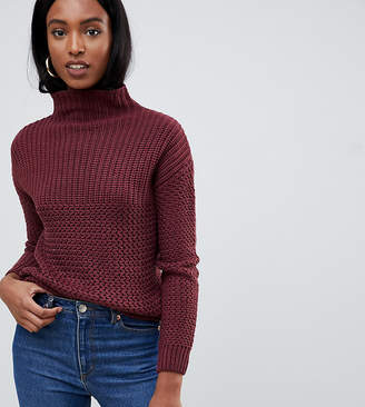 Noisy May Tall cable knit high neck jumper