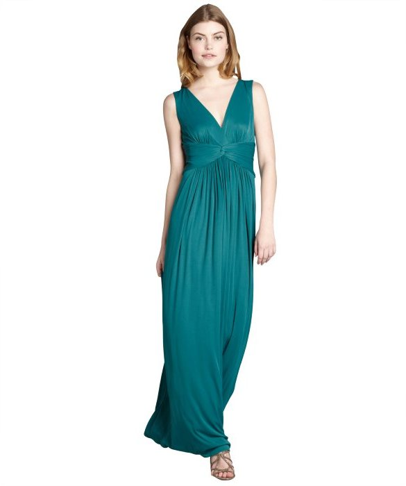 BCBGMAXAZRIA jewel green ruched jersey 'Lesley' sleeveless gown