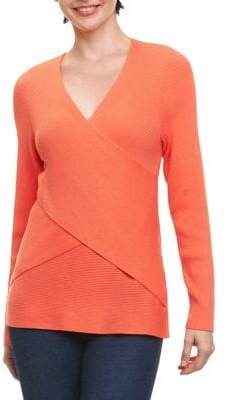 Foxcroft Ribbed Wrap Top